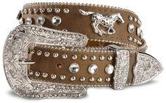 Nocona Girls' Brown Rhinestone Leather Belt - 18-28 - Sheplers