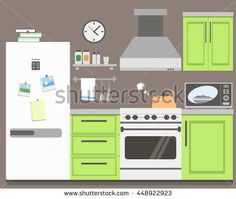 Kitchen with various furniture and kitchen utensils. Modern kitchen interior in vector flat style.