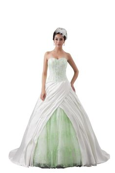 Orifashion Light Green Corset Pleated Ball Wedding Dress BWGHER0108, US Size 12. Made satin, tulle and high quality lining. Crafts: Pleating. Fitted bodice is accented with lace appliques, lace layer insert into the asymmetric pleated skirt. Strapless ball gown, zipper closure.