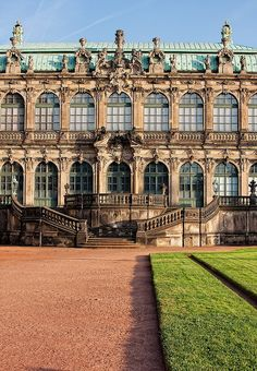 Zwinge Palace,  a stately building and park built in Rococo style by court architect Matthhaus Daniel Poppellmann.  Once the residence of the electors and kings of Saxony, that served as an orangery,  exhibition gallery and festival arena of the Dresden Court. Today it is a museum complex that houses old Masters. Dresden, GERMANY