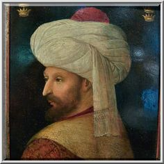 Portrait of Sultan Mehmed II el-Fatih the Conqueror by Gentile Bellini (Italy, early 16th century, L07222 267) on display in Museum of Islamic Art. Doha, Qatar, March 7, 2010