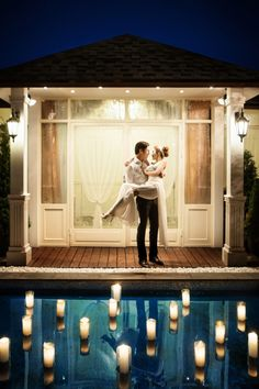 Utterly romantic night pre-wedding session *lovely resort and lighted pool*