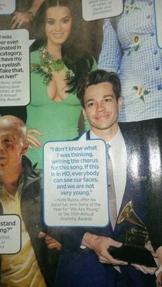 """Nate Ruess on """"We are Young."""" Besides the moment when he announced his need to pee on national television...This was the best moment on the Grammy's."""