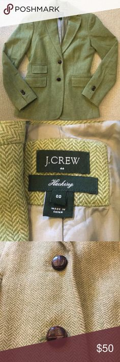 """Jcrew Hacking jacket women's size 00 Jcrew Hacking jacket women's size 00. Great condition, worn one time. Length is 24"""" bust is 15.5""""   Comes from a pet free smoke free home! J. Crew Jackets & Coats Blazers"""