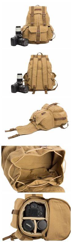 Waxed Canvas Camera Backpack, Professional DSLR Camera Bag, Travel Backpack
