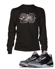 d87a0c837dfebc 23 Graphic T Shirt to Match Retro Air Jordan 3 Black Cement Shoe