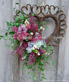 Valentine Wreath, Heart Wreath, Victorian Garden Wreath, Spring Floral, Country French, Romantic Wedding Decor Victorian Garden Heart Wreath. A sweet floral bouquet in lovely shades of raspberry pink, soft periwinkle, mint green and ivory rest upon lush greenery, gracing the edge of