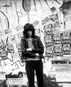 "zombiesenelghetto: "" Joey Ramone, St. Marks Place NYC, photo Godlis 1981. """