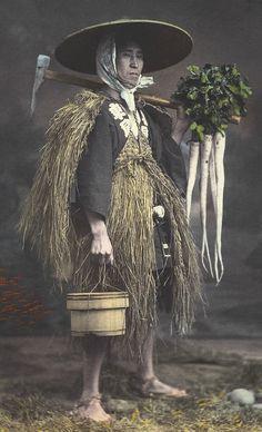 "thekimonogallery: "" Farmer. Late 19th century, Japan. Hand-colored photo """
