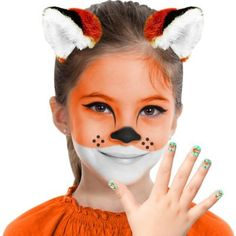 Be artsy this Halloween with a Fox Makeup Kit for kids! Apply the makeup and nail stickers to your little one and then add the faux fur headband. Once you've got them dressed in an outfit to match, the costume is complete! Halloween Makeup For Kids, Makeup Kit For Kids, Kids Makeup, Scary Halloween, Face Paint For Halloween, Halloween Looks, Fox Makeup, Animal Makeup, Fox Face Paint
