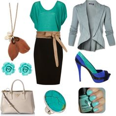 Turquoise at Work. Turquoise/Blue/Brown colour scheme. Flutter sleeve top, blazer, pencil skirt, waist belt, vintage cocktail ring, colour blocked heels, nail polish, long feather necklace, flower earring. #nail