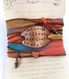 Graduation Gift Silk Wrap Bracelet She Believed By Sailorstudio