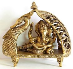 Ganesha Reading Book Reclining on Peacock Bed - Brass Sculpture (Brass)