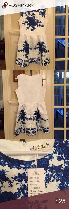 Brand new Paradise Closet white & blue dress Never worn blue damask and white dress. Ordered from Paradise Closet. Size 8. Paradise Closet Co. Dresses Mini