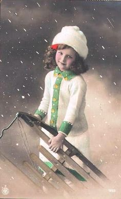Vintage Postcard ~ Girl w/ Sled | Flickr - Photo Sharing!