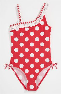 Pumpkin Patch Polka Dot Swimsuit (Little Girls & Big Girls) available at #Nordstrom