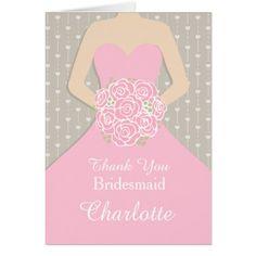 Pink Wedding Thank You Cards Wedding bridesmaid pink dress thank you card