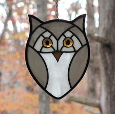 Little Grey Hoot Owl Stained Glass Suncatcher by livingglassart home of oddballs and oddities, via Flickr