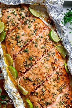 Honey Lime Garlic Butter Salmon is ready in under 30 MINUTES! Caramelized on the outside and falling apart tender on the inside!