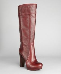 Vince Camuto dark ruby leather 'Laird' platform boots. I am in LOVE.