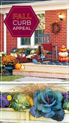 Turn up your fall curb appeal: This fall entryway makeover design has all the right plants, decor and more. Get some tips here, and pump up your fall curb appeal! Fall Entryway, Cottage Garden Design, Garden Gates, Curb Appeal, Fall Decor, Design Ideas, Amp, Table Decorations, Create