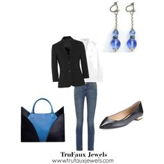 """""""Wearing Statement Earrings Anytime"""": These blue crystal vintage Art Deco dangling earrings are a wardrobe staple."""