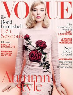 Lea Seydoux wearing Dolce & Gabbana on the november cover of Vogue UK. #fashion magazine#fashion#vogue uk#Dolce&Gabbana#Vogue#lea seydoux#editorials#cover shoot