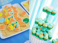 Yummy and cute Under The Sea cupcakes and cookies!
