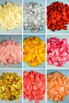 Wholesale artificial wedding silk rose petals in many vibrant colors.
