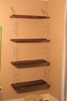 How To Make Cool Shelves   cool / How to Make Suspended Shelves with Steel Cable and Turnbuckles