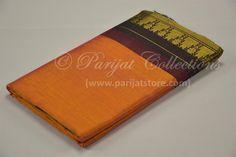 Orange Korvai Silk Cotton Saree with Grand Black Pallu & Bavanchi Border Silk Cotton Sarees, Orange, Collection, Black, Black People