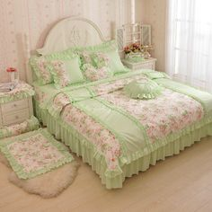Light Green Girls Lace Ruffle Floral Princess Bedding