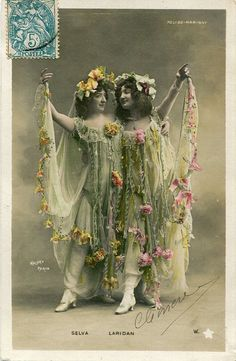 Original French vintage hand tinted real photo postcard - Two actresses in…