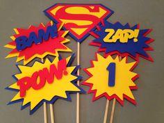 Superman Centerpiece 5 pc Superhero party by InspiredbyLilyMarie