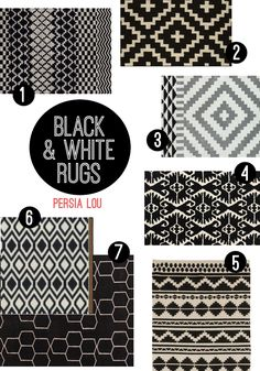 Favorite Black and White Rugs Roundup