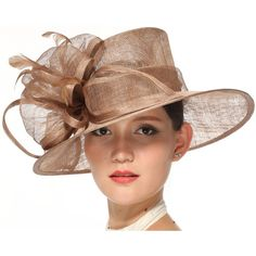 Church Kentucky Derby Carriage Tea Party Wedding Wide Brim Woman's... ❤ liked on Polyvore featuring accessories, hats, flower hat, crown hat, tea hats, flower crown and feather hat