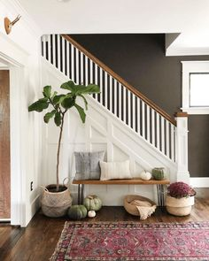 Our Narrow Entryway Inspiration Console Tables - Miranda Schroeder Narrow Staircase, White Staircase, Entryway Stairs, Entryway Decor, Entryway Ideas, Narrow Entryway Table, Entryway Storage, Hallway Ideas, Shoe Storage