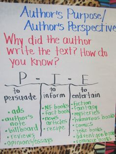 author's purpose... It would be cute to eat p-i-e while the scholars read different things looking for the authors purpose!