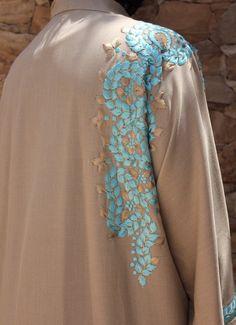 Items similar to Stunning (Aqua turquoise/Beige) embroidered Abaya khaleeji kaftan maxi on Etsy Embroidery On Kurtis, Hand Embroidery Dress, Kurti Embroidery Design, Couture Embroidery, Modest Fashion Hijab, Modern Hijab Fashion, Abaya Fashion, Kurti Designs Party Wear, Kurta Designs