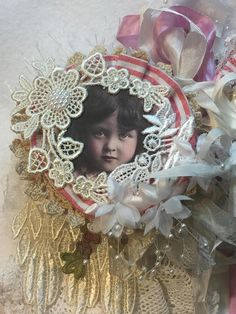 DECADENT DOILY BOOK Vintage Little Girls Mixed Media Fabric