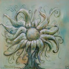 """#Sale 4x4"""" Original Painting No3 Ethereal Fantasy Surreal Sunflower by #RSalcedo"""