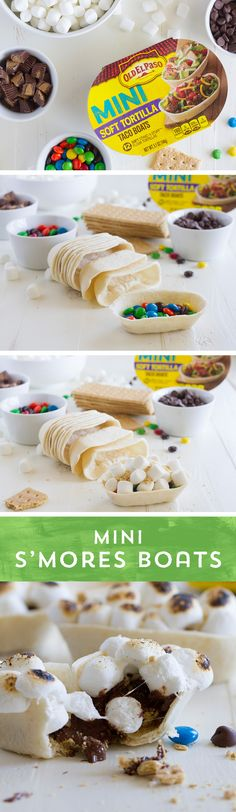 You don't need to be in the woods or get messy to enjoy these Mini S'mores Boats from Just fill your Mini Taco Boats with graham cracker crumbs, chocolate and marshmallows and pop them in the oven! No mess, just fun S'more treats! Just Desserts, Delicious Desserts, Dessert Recipes, Yummy Food, Dessert Ideas, Yummy Treats, Sweet Treats, Brownies, Cupcakes