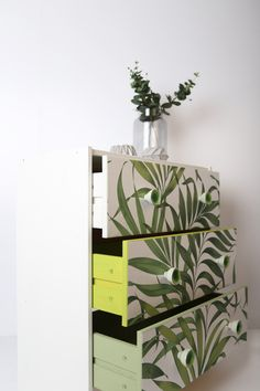 Wallpaper and paint make the perfect tools for upcycling your furniture to go with your room aesthetic. Yasuni wallpaper by Graham & Brown has been used here to transform these drawers. Brown Paint, Graham Brown, Green Wallpaper, Upcycling Ideas, Rough Diamond, Lush Green, Baby Room Decor, Upcycled Furniture, Room Inspiration