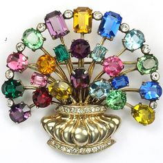 Eisenberg Original Sterling Gold Pave and Multicolour Stones Flower Basket Pin