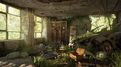 Inspired by the last of us Post Apocalypse set up. Zombie Apocalypse Survival, Zombie Apocalypse House, Apocalypse World, Apocalypse Art, Walking Dead Zombies, The Walking Dead, Apocalypse Landscape, Apocalypse Aesthetic, Post Apocalyptic Art