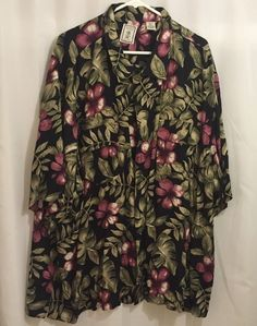 Roundtree & Yorke Hawaiian Men's Size 4XLT Tall 100% Rayon Short Sleeve Shirt  #Caribbean #Hawaiian