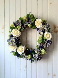 Soft Blue Hydrangea and Creamy Rose Silk Floral Wreath. $46.00, via Etsy.