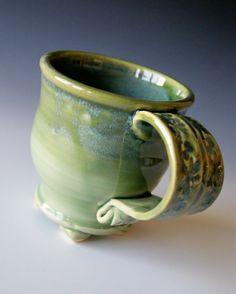 Pottery Coffee Mug Handmade Wheel Thrown by riverstonepottery, $20.00