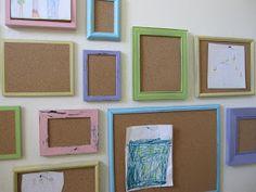 Frames with cork...interchangeable art wall!