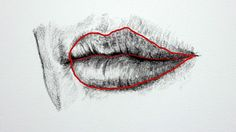 Draw the outline of the mouth